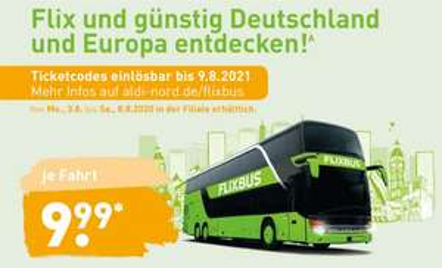 FlixBus Europa-Ticket und FlixTrain deutschlandweit für 9,99€ (Reisezeitraum 10.08.2020 bis 09.08.2021) [ALDI-Nord]