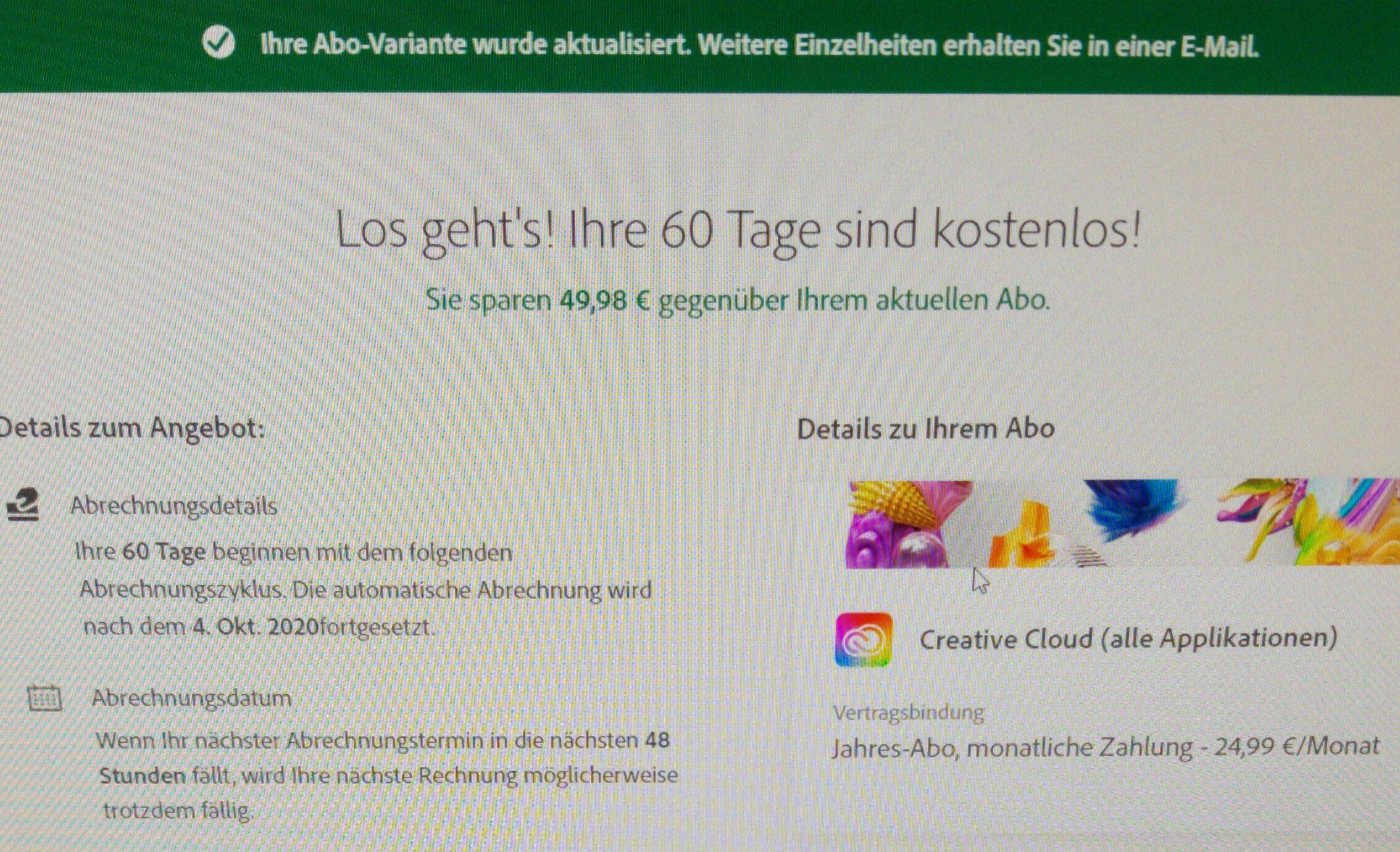 Adobe Creative Cloud 2 Monate Gratis für Bestandskunden