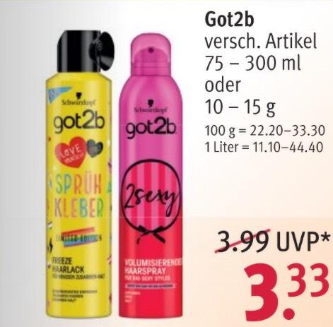 2x Schwarzkopf got2b z.b. Strandmatte, Sprühkleber für 4,49€ mit Coupon / 2,25€ pro Stück