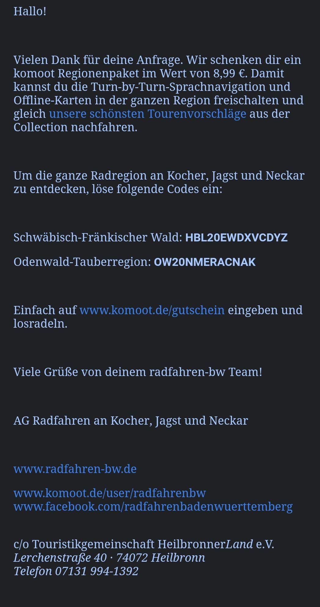"""Gratis Komoot Region Baden Württemberg: """"Odenwald, Hohenlohe, Schwäbisch Hall, Heilbronner Land"""" durch E-Mail Gutschein"""