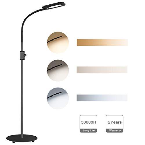 Aukey LT-ST34 LED-Stehlampe (8W, 3 Farbtemperaturen 3000/4000/6000K, 20 Helligkeitsstufen, 230mm Durchmesser, 1.6m hoch)