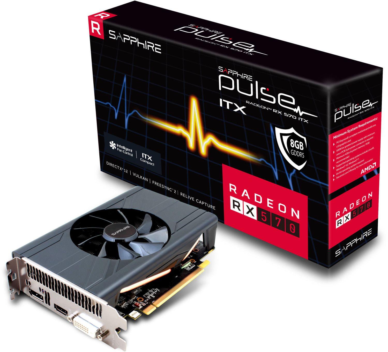 Sapphire Pulse Radeon RX 570 ITX Grafikkarte 8 GB GDDR5 (PCIe 3.0 x16, DVI, HDMI, DisplayPort) [Vorbestellung]