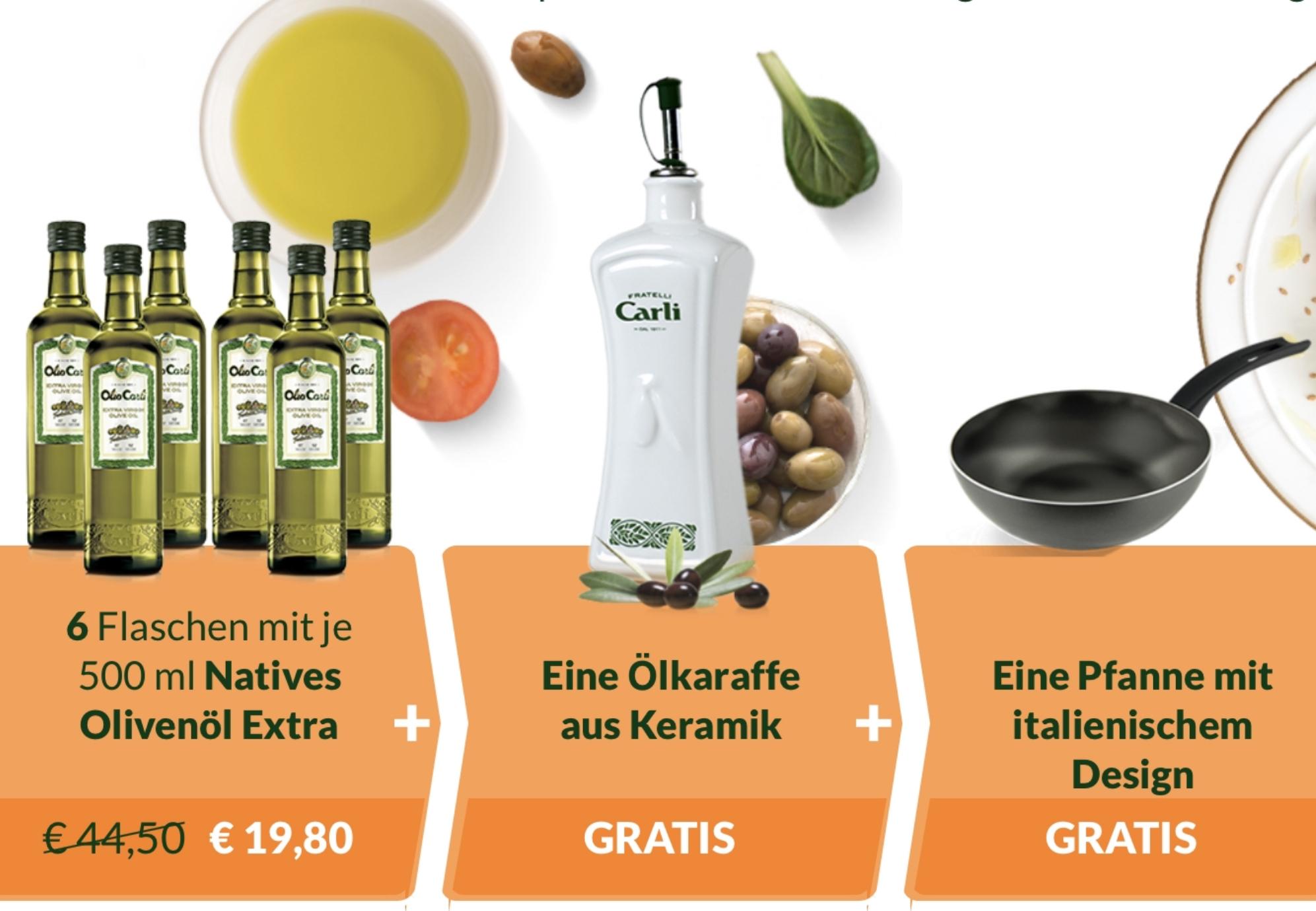 Olio Carli Erstbesteller: 6 Flaschen Natives Olivenöl Extra je 500ml + Ölkaraffe aus Keramik + Ballarini Bratpfanne für 19,80€ inkl. Versand