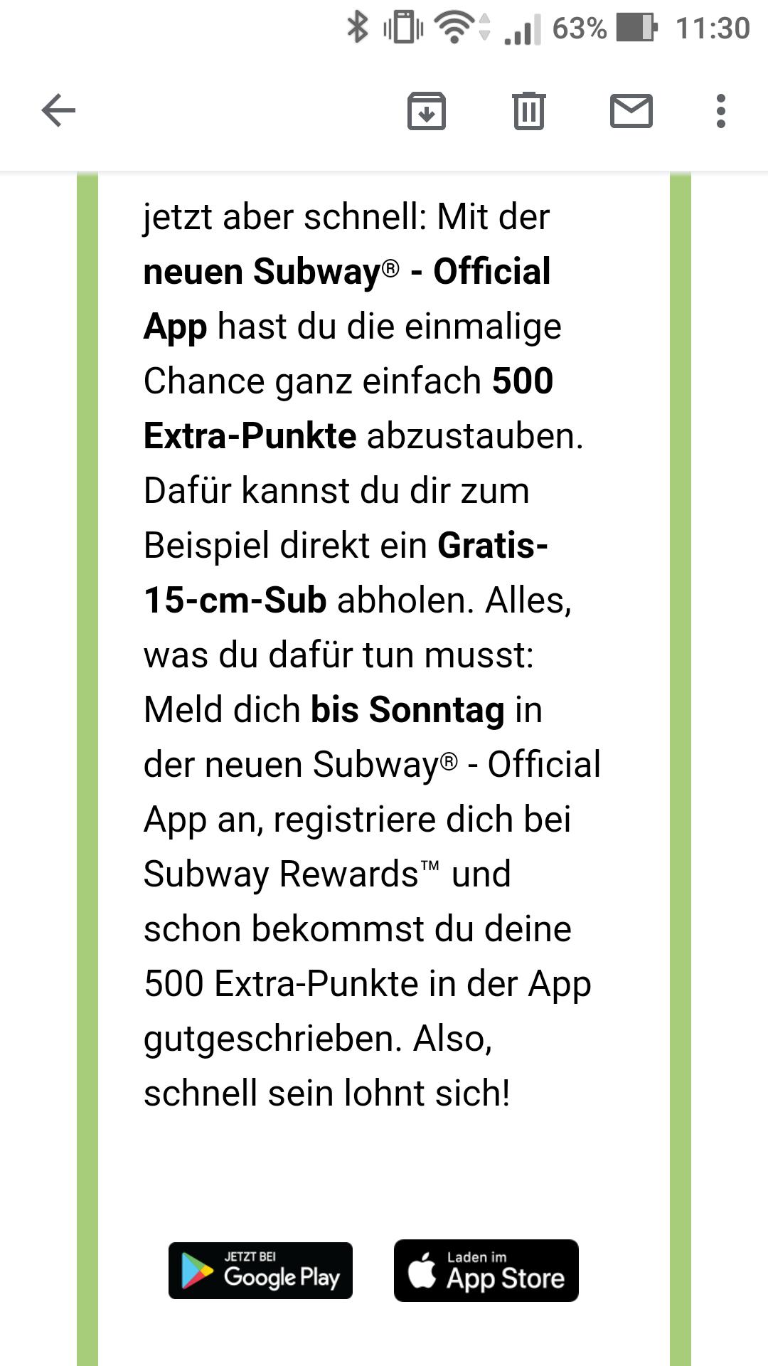 Subway: 1 gratis Sub / 500 Punkte für Wechsel auf neuen App