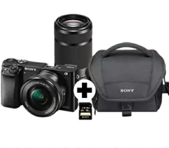 SONY Alpha 6000 ZOOM+TELEZOOM KIT ،Systemkamera 24.3 Megapixel mit Objektiv 16-50 mm, 55-210 mm f/3.5-5.6, f/4.5-6.3, 7,6 cm Display, WLAN