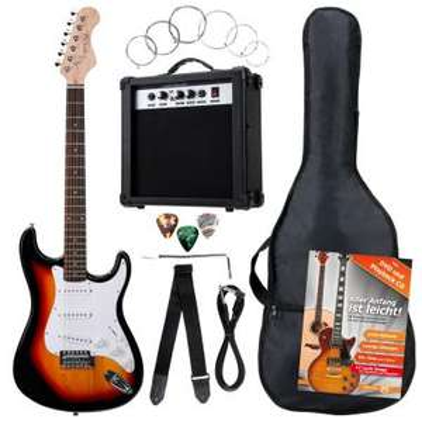 [B-Ware] Rocktile Banger's Pack Komplettset E-Gitarre Sunburst (Verstärker, Tremolo, Tasche, Kabel, Gurt, Plecs, Ersatzsaiten mit CD/DVD)