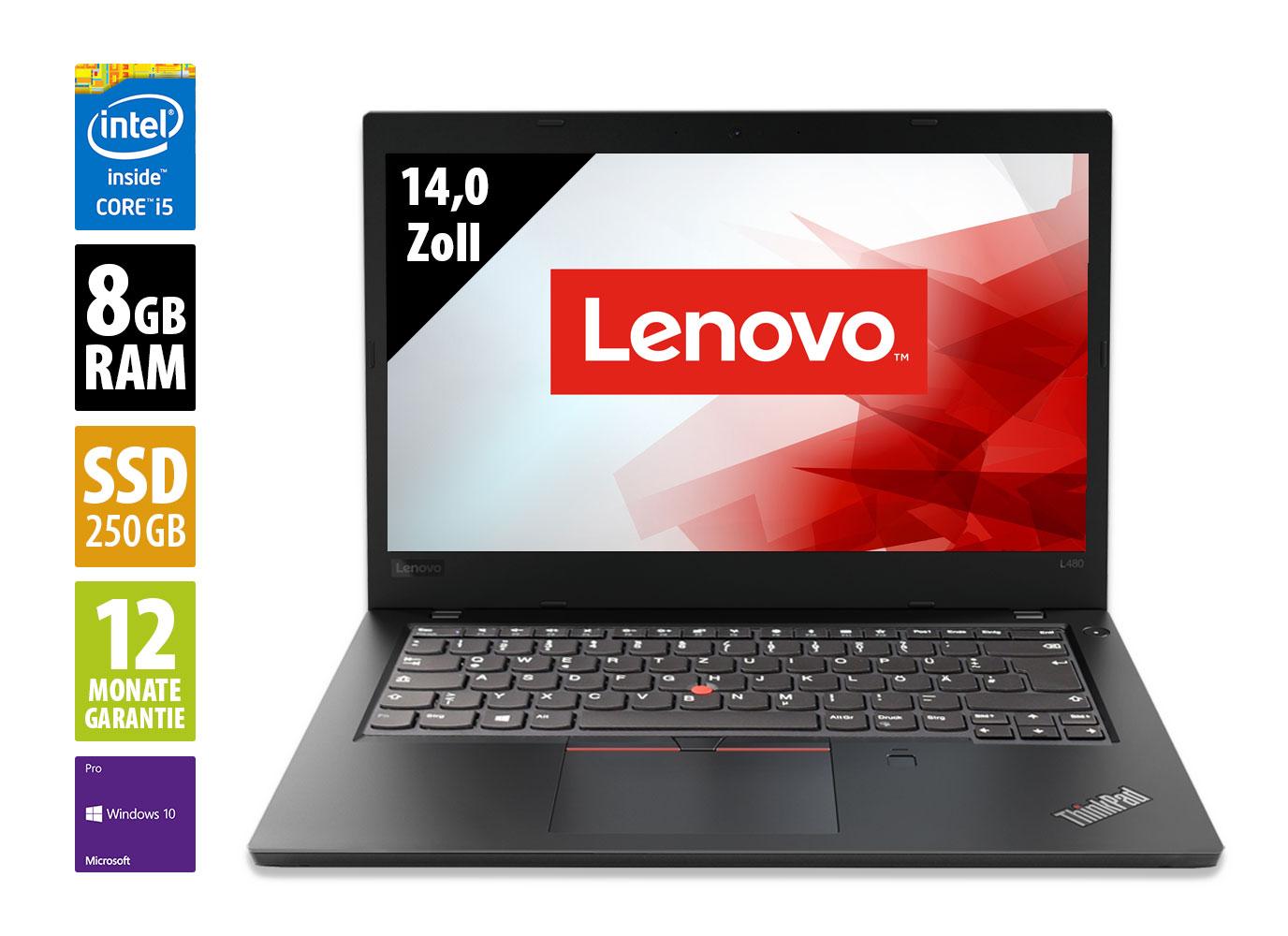 """Lenovo ThinkPad L480 (14"""", FHD, IPS, i5-8350U, 8GB RAM, 256GB PCIe SSD, USB-C mit DP & PD, WWAN, 45Wh, Tastaturbel., Win10 Pro, 1J Garantie)"""