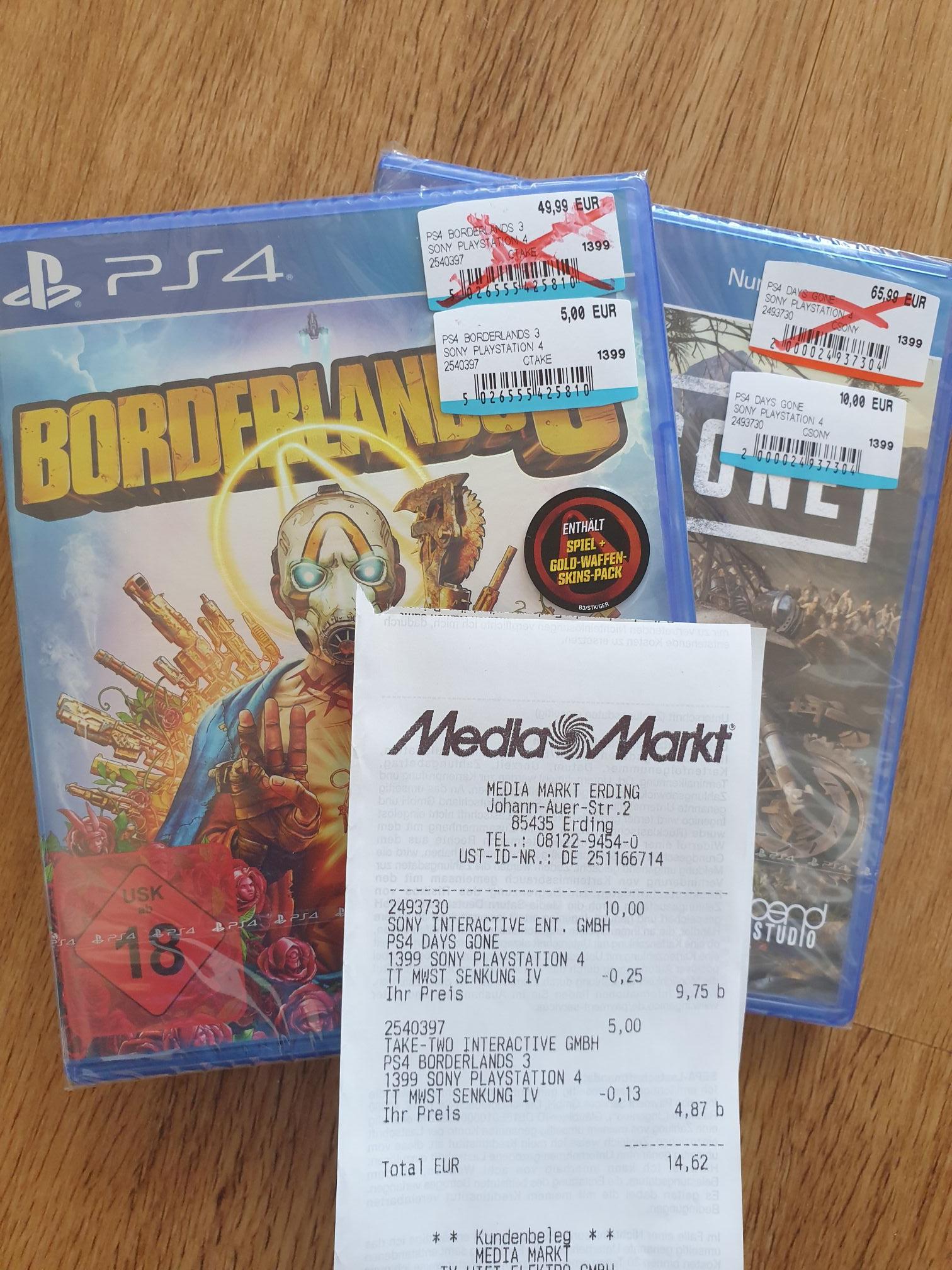 Borderlands 3 PS4 4,87€ Days Gone 9,75€ Sekiro 9,75€ XBOX/PC Overwatch Legendary 9,75€ Switch (Lokal MM Erding)