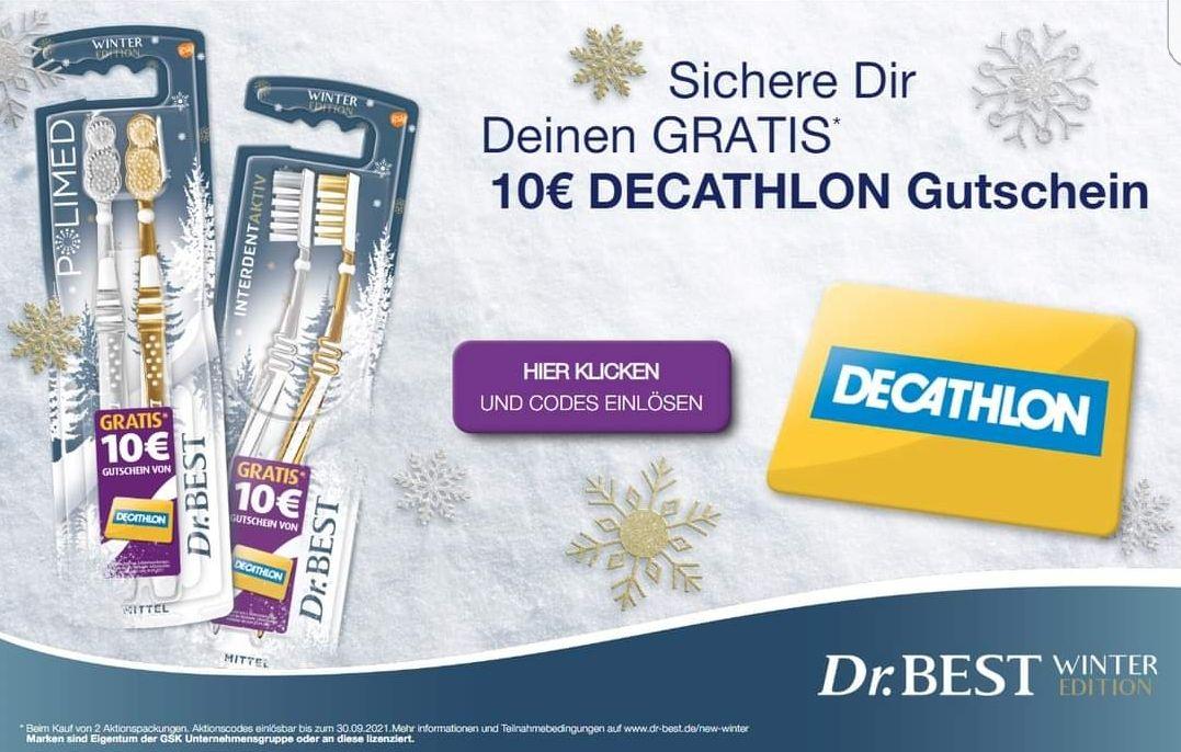[Dr. Best Decathlon] 10€ Decathlon Gutschein bei Kauf von 2 Dr. Best Aktionsprodukten, Aktions-Kombi möglich (?)