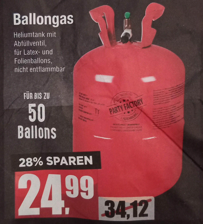 Ballongas (Helium) für bis zu 50 Ballons bei Mäc-Geiz (offline)