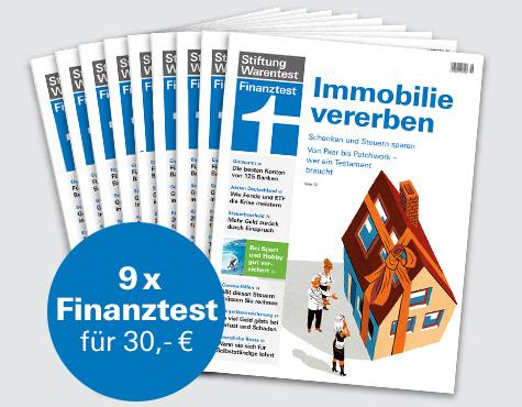 Finanztest Abo (9 Ausgaben) + Notizbuch + Buch Geldanlage für Anfänger (i.W.v. 19,90€) oder + Buch Vererben & Erben (i.W.v 19,90€) für 30 €
