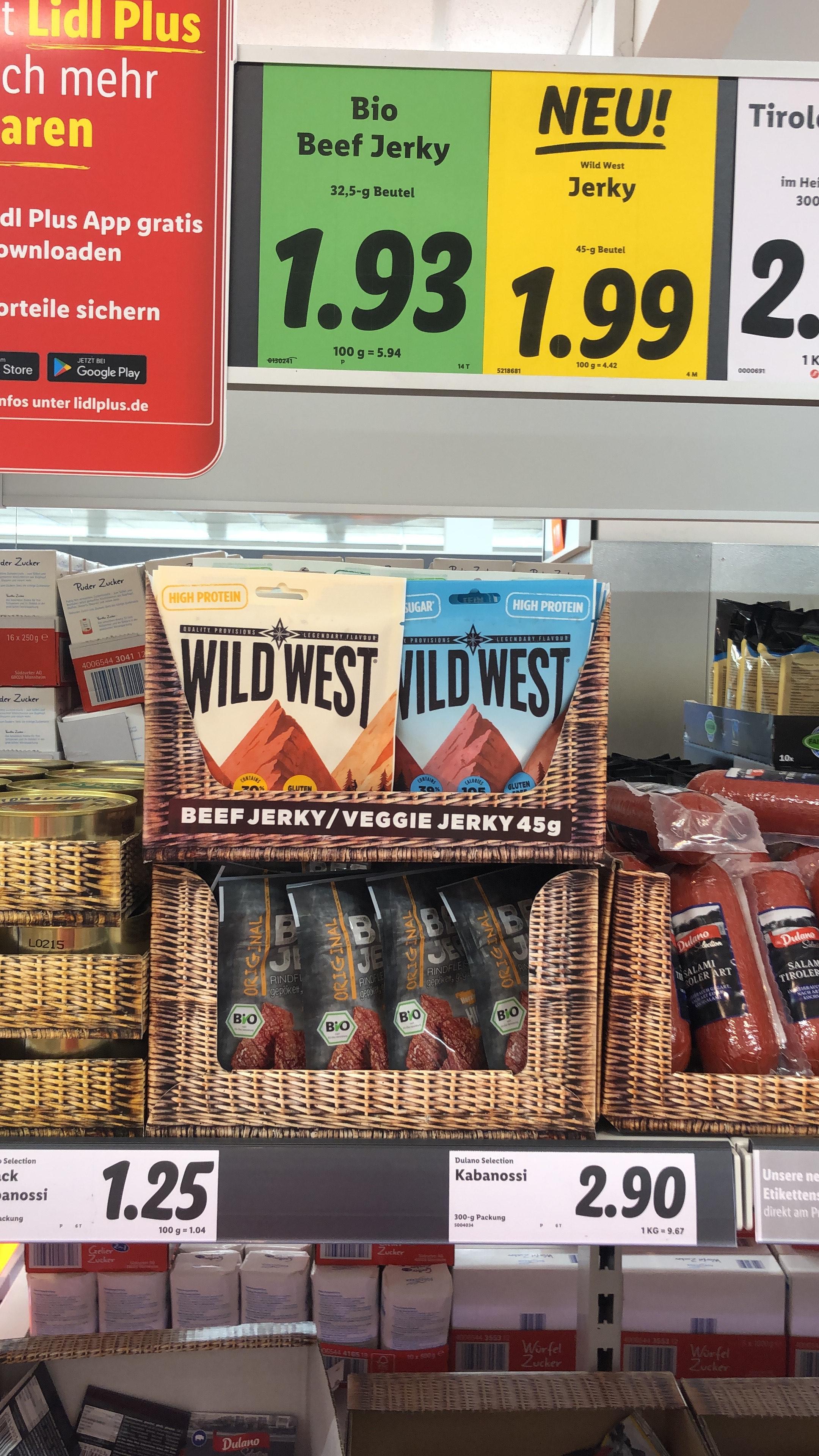 Wild West Beef Jerky / Veggie Jerky 45g bei Lidl