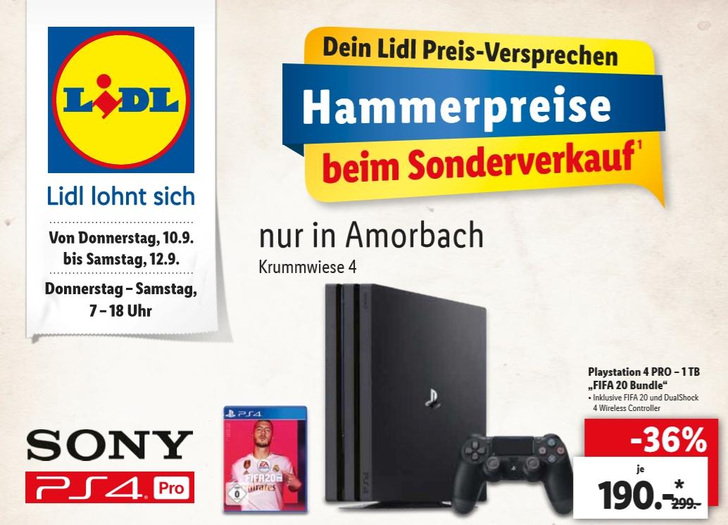 """[Regional Lidl Amorbach ab 10.09] Playstation 4 PRO – 1 TB """"FIFA 20 Bundle für 190,-€"""