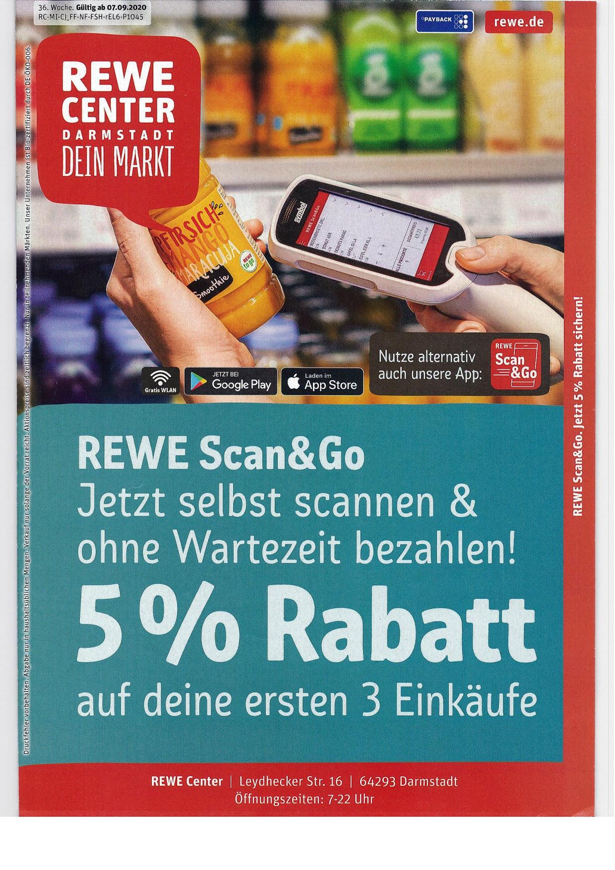 [lokal] Rewe Center Darmstadt / Köln: 5% Rabatt mit REWE Scan&Go (Payback vorausgesetzt)
