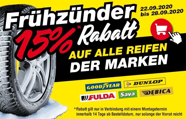 15% Rabatt auf alle Reifen der Marken Goodyear, Dunlop, Fulda, Sava und Debica!