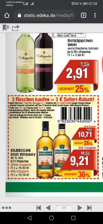 Kilbeggan Traditional Irish Whiskey / 2 Flaschen mit Coupon für 9,21€ pro Flasche (18,42€ insgesamt) @ Marktkauf Eisenach (Lokal?)