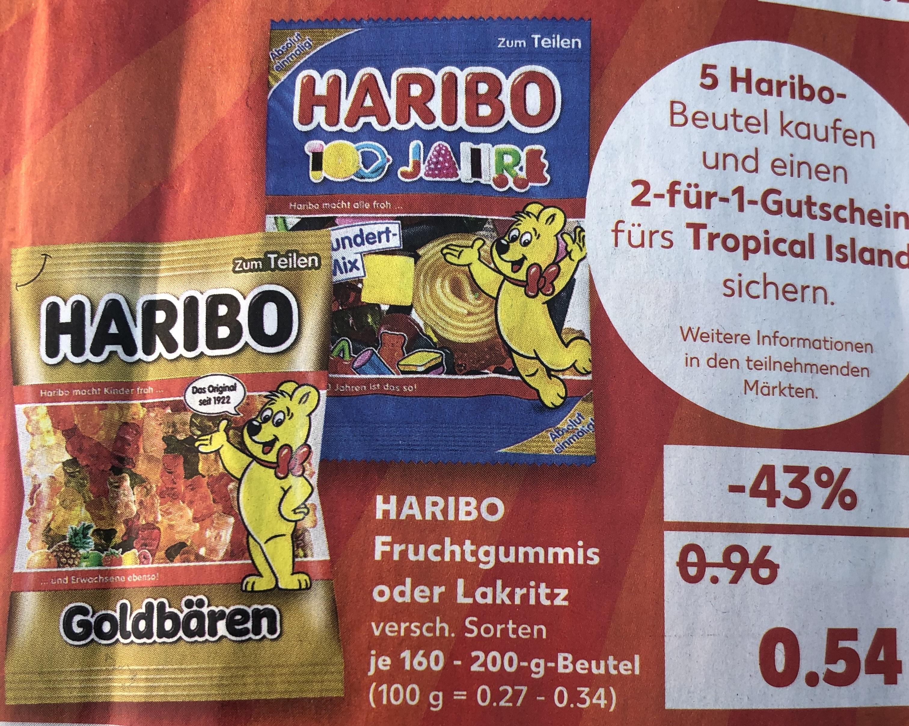 Kaufland 5 Haribo Beutel kaufen und 2 für 1 Gutschein Tropical Islands sichern
