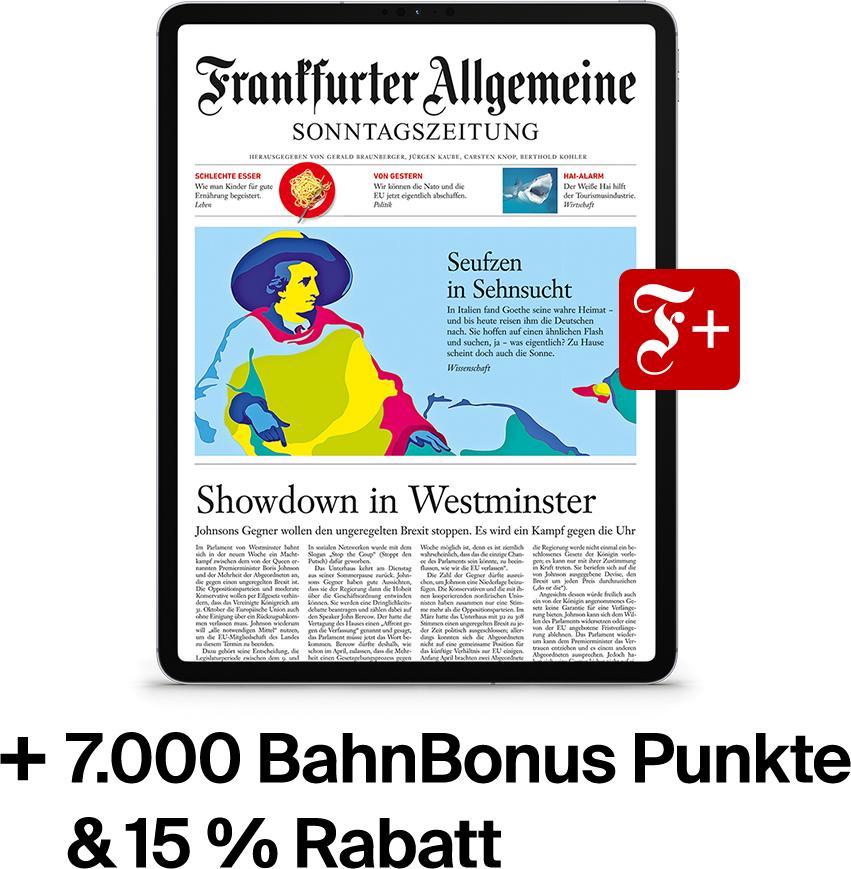12 Monate F.A.S. (ePaper) - Sonntagszeitung Plus und 7.000 Bahnbonuspunkte (34,97 Euro pro Bahnfahrt)