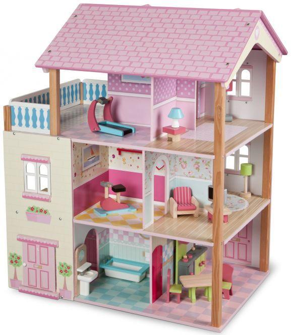 Besttoy 3-stöckiges Puppenhaus aus Holz, drehbar, inklusive 22-tlg Möbelset, Maße 60x41x75cm, offline Rofu, online Mifus