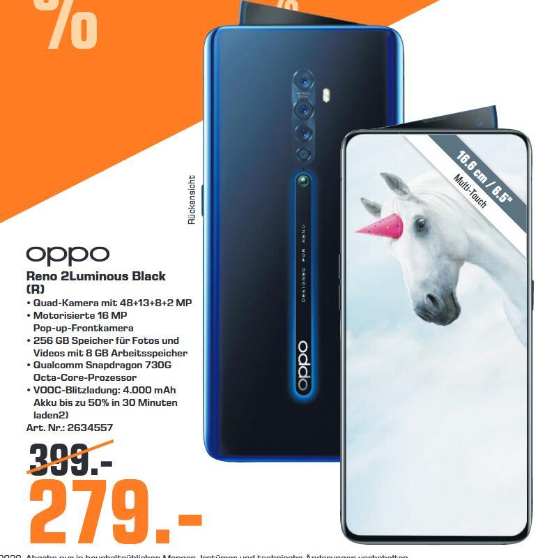 "[lokal: Saturn Regensburg] OPPO RENO 2 - 6.5"" FHD+ Dual SIM Smartphone (8GB/256GB, USB-C, NFC, SD730G, 4000mAh, Klinke) Luminous Black"