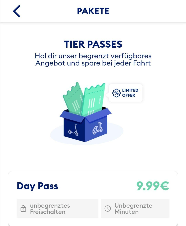 TIER Day Pass - 24 Stunden unbegrenzt fahren und freischalten