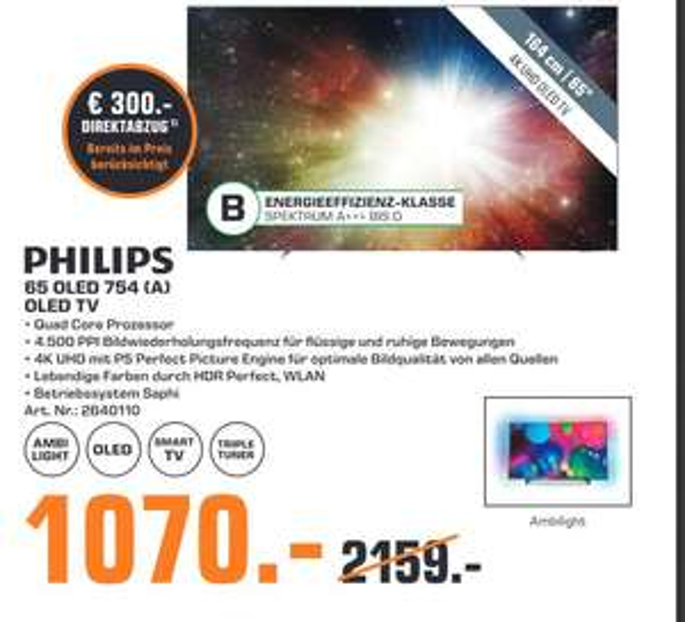 "[lokal: Saturn Celle] PHILIPS 65OLED754 65"" 4K UHD OLED Smart TV - 1070€ | Samsung HW-Q70R - 250€ | Xbox One S 1TB ADE + 3 Spiele - 120€"