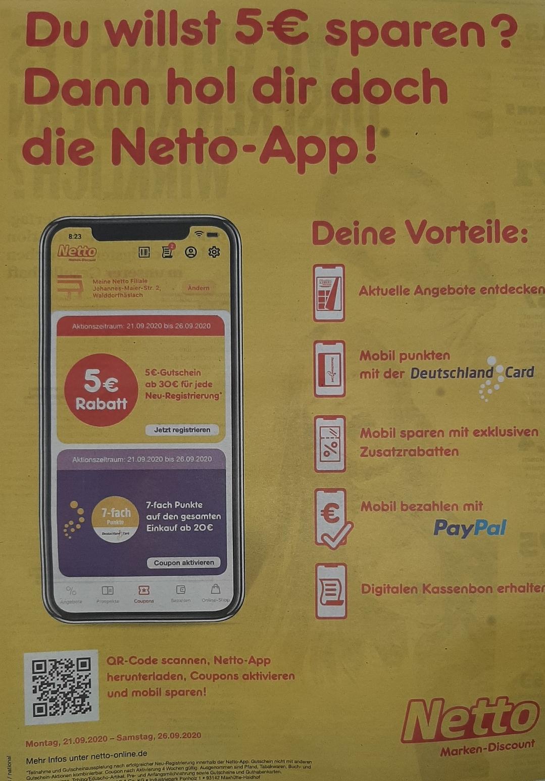 [Netto App] 5 € Gutschein ab 30 € für jede Neu Registrierung