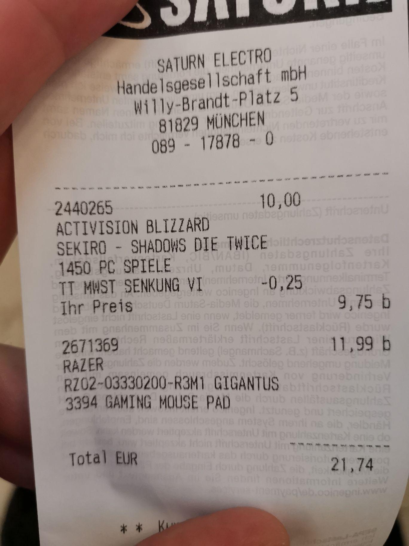 [lokal Saturn Riem] Sekiro PC für 9,75€