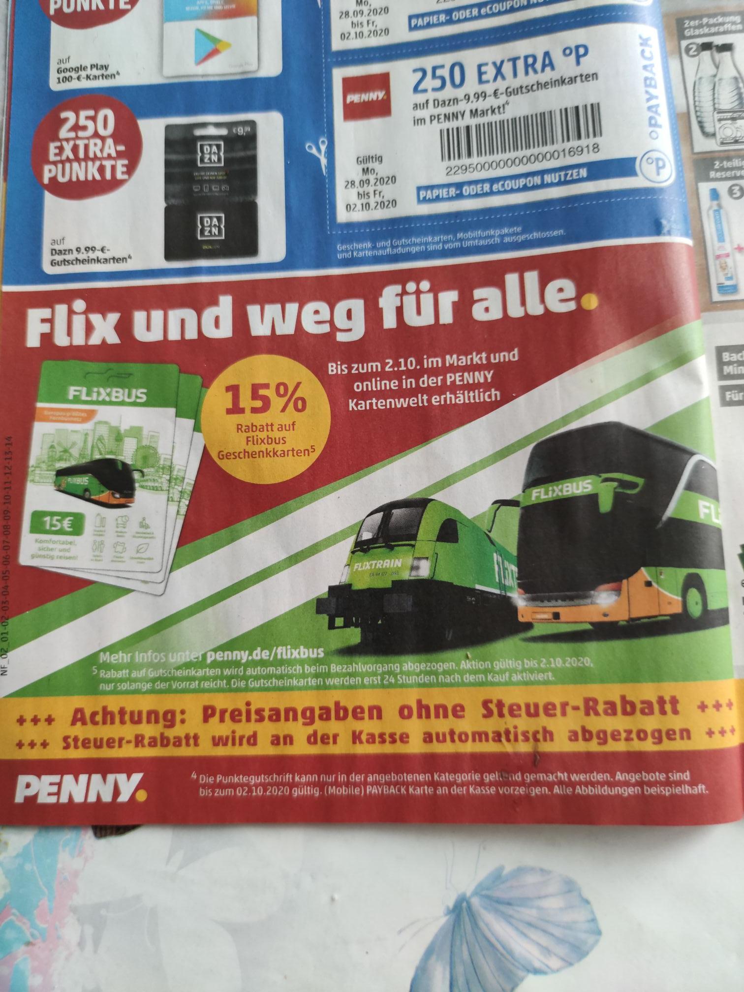 (Penny) Ab den 28.9 15% Rabatt auf Flixbus Geschenkkarte. Online und Lokal