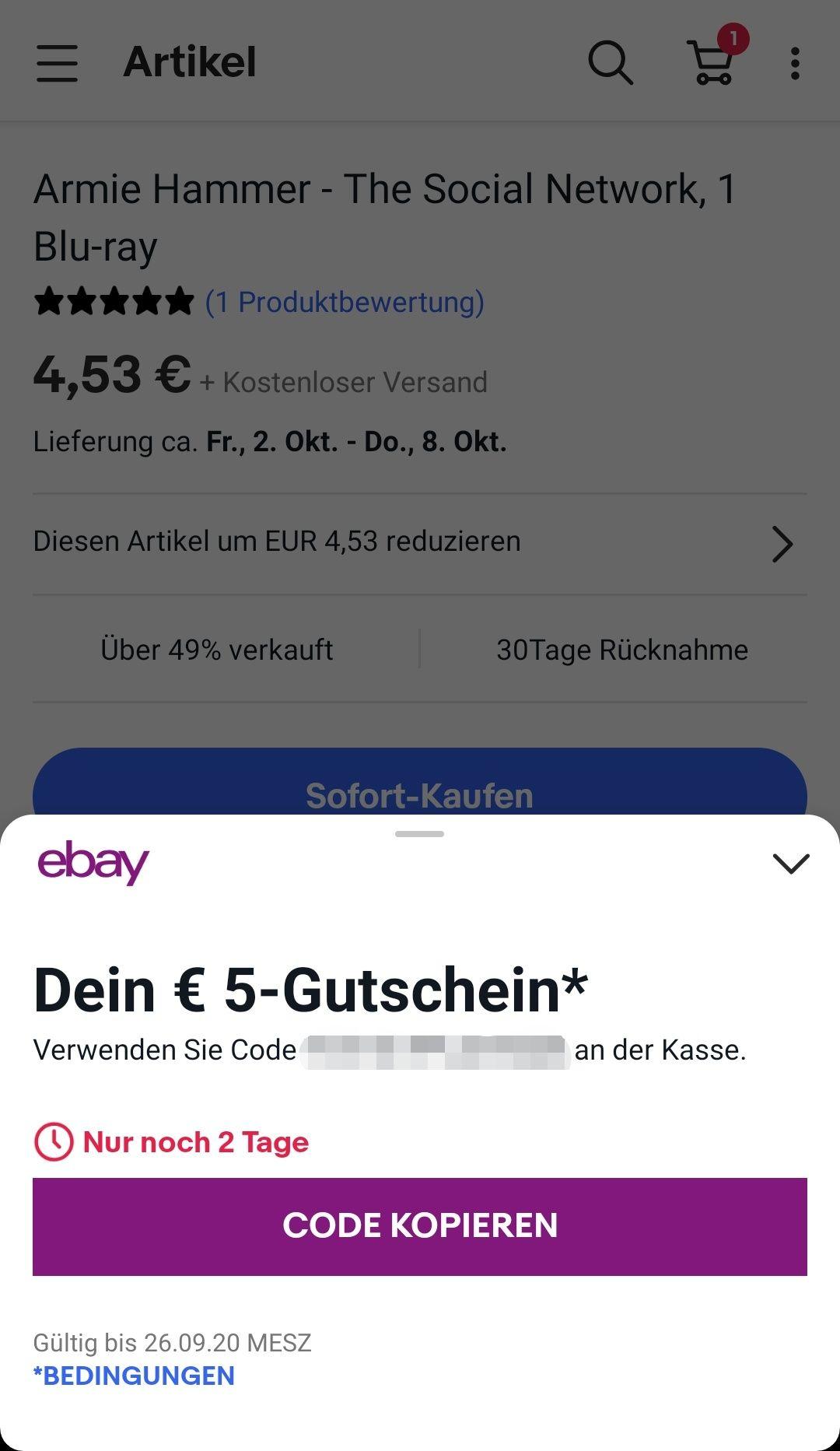 [personalisiert? | Freebies möglich] 5€ Gutschein in der eBay-App ohne MBW