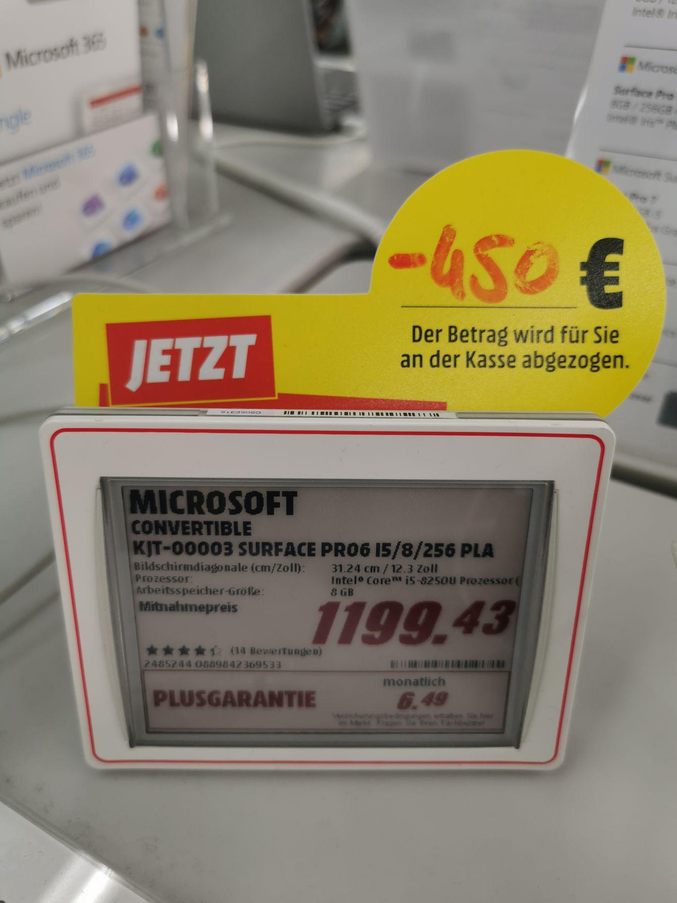 Lokal MM Friedrichshafen Microsoft Surface Pro 6, 31,25 cm (12,3 Zoll) 2-in-1 Tablet (Intel Core i5, 8GB RAM, 256GB SSD
