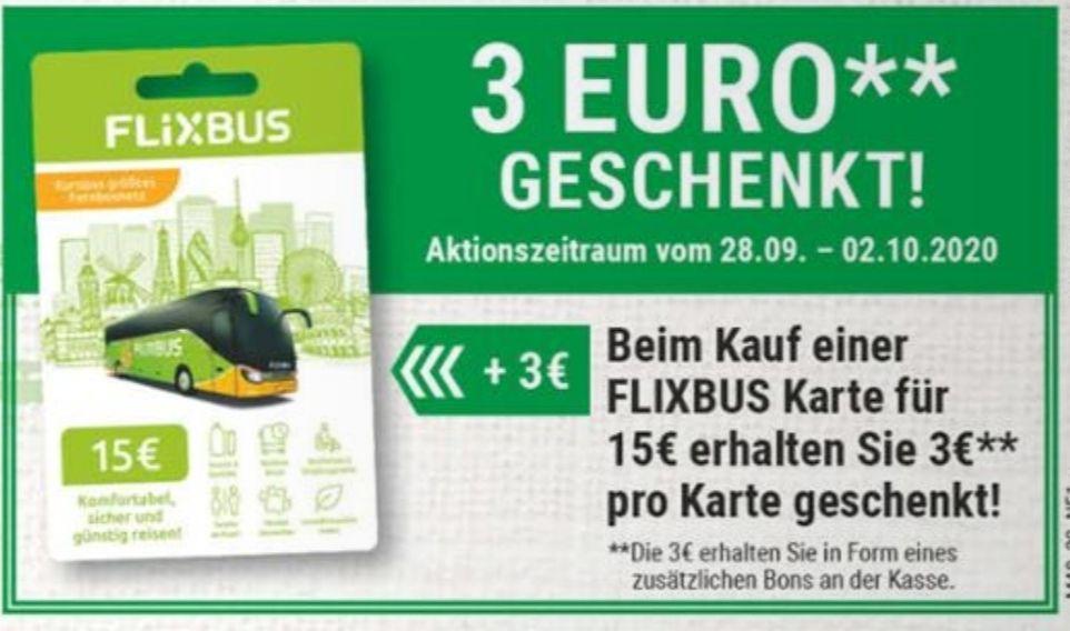 [Marktkauf Minden-Hannover] Flixbus Karte für 15€ kaufen und 3€ pro Karte geschenkt
