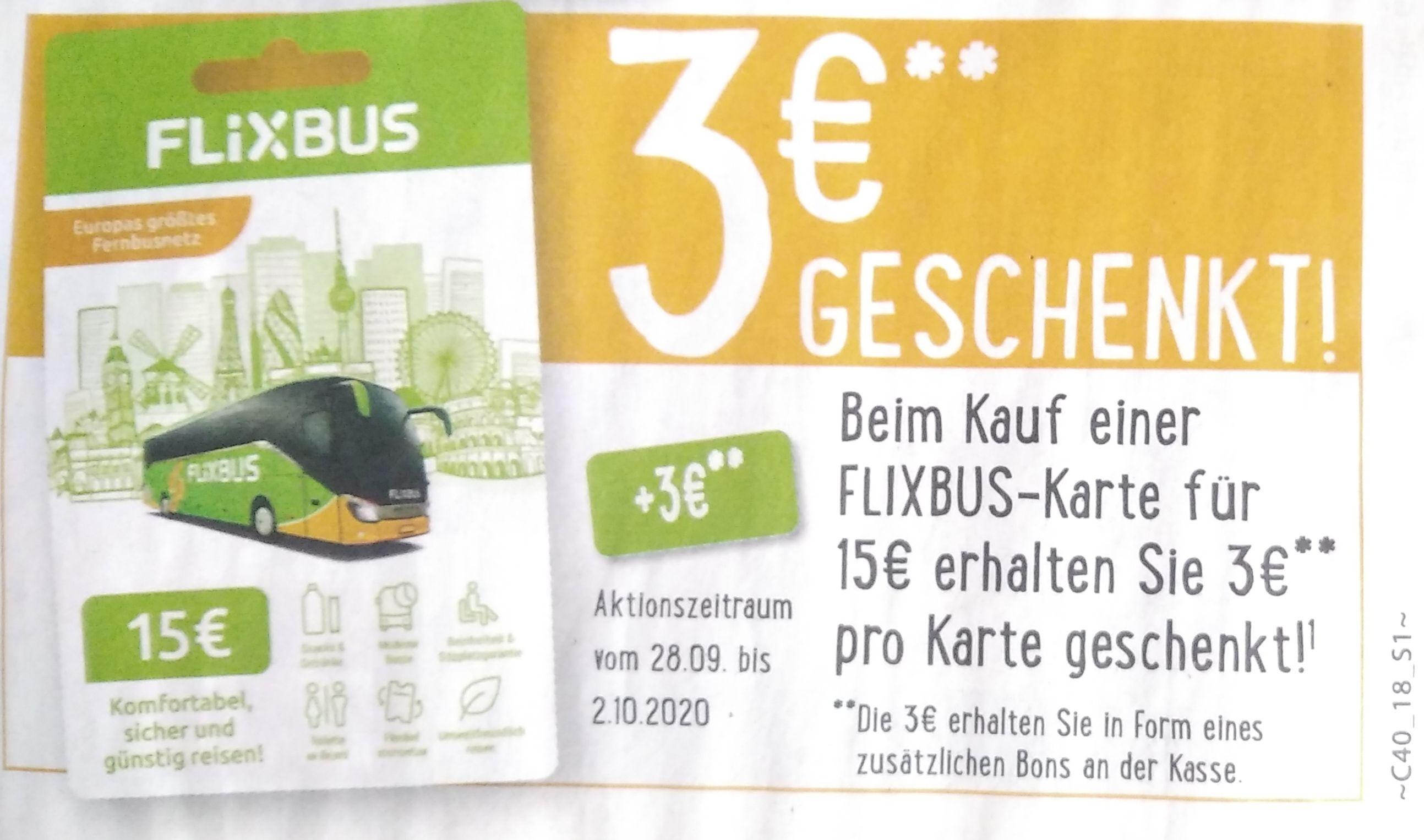 [EDEKA] Minden-Hannover Flixbuskarte in Höhe von 15€ kaufen und zusätzlich 3€ geschenkt bekommen.