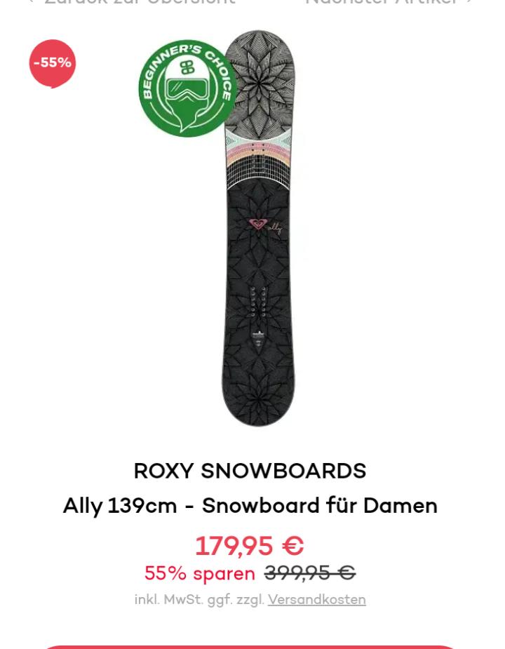 ROXY SNOWBOARDS Ally /Clubsale SnowSale