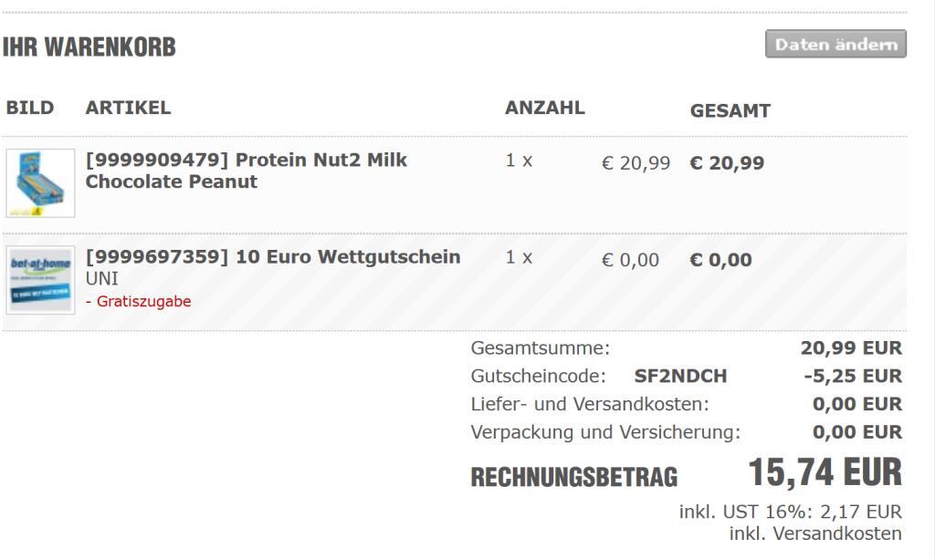 PowerBar Protein Nut2 Milk Chocolate Peanut 18x45g + Gratis Zugabe