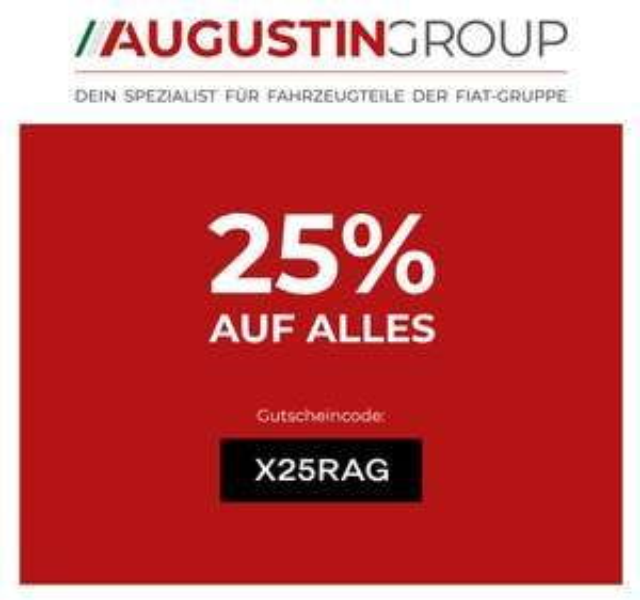 25% auf alles bei Augustin Group (Fiat Autoteile, etc.)
