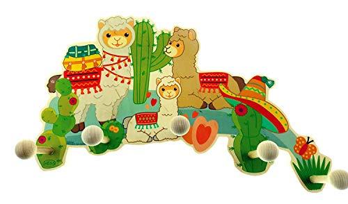 [Amazon Prime] Hess Holzspielzeug 10128470 Garderobe aus Holz mit 5 Haken, Lama, ca. 37 x 26 x 7 cm, mehrfarbig, 400 g