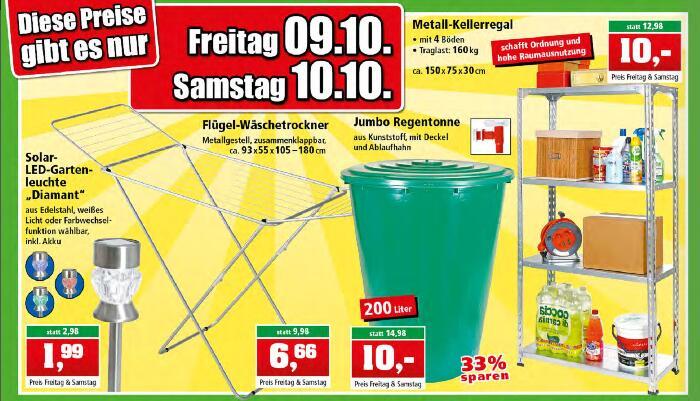 [Thomas Philipps] 200l Regentonne, Wäscheständer, Metallregal, Gartenleuchte Fr 09.+ Sa 10. Okt.