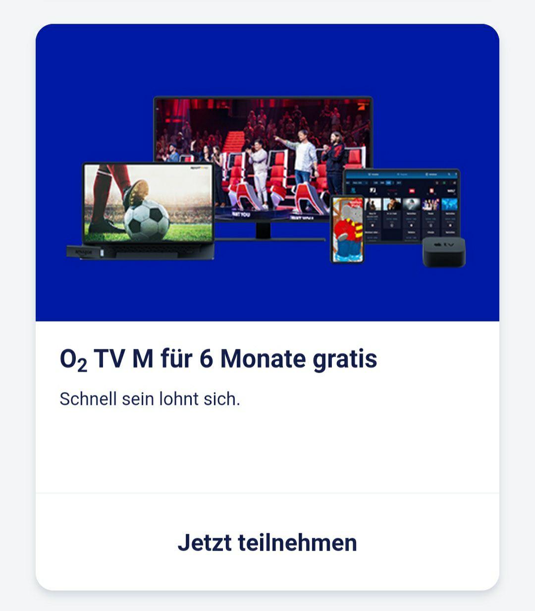 o2 TV M für 6 Monate kostenlos [o2 Priority]