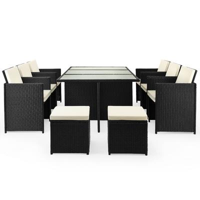 Casaria Polyrattan Sitzgruppe Cube 10+1 Klappbare Rückenlehne