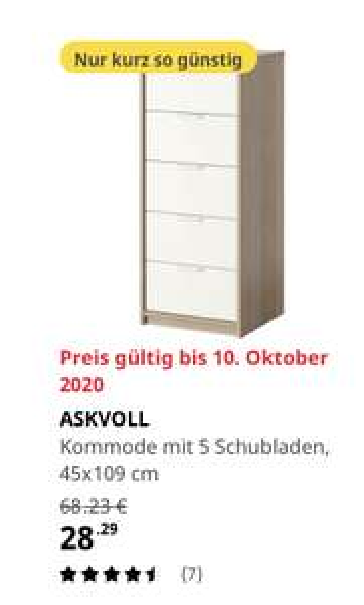 (Ikea Bremerhaven) ASKVOLL Kommode mit 5 Schubladen, Eicheneff wlas/weiß 45x109 cm