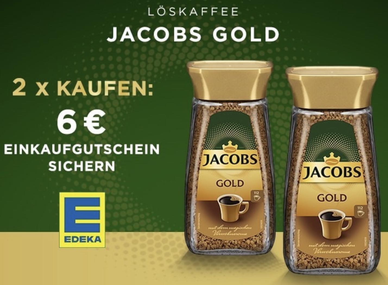 Edeka: 2 Gläser Jacobs Gold Instant Kaffee kaufen und 6€ Einkaufs-Gutschein erhalten (rechnerisch 1,70€ je Glas möglich + 0,80€ Porto)