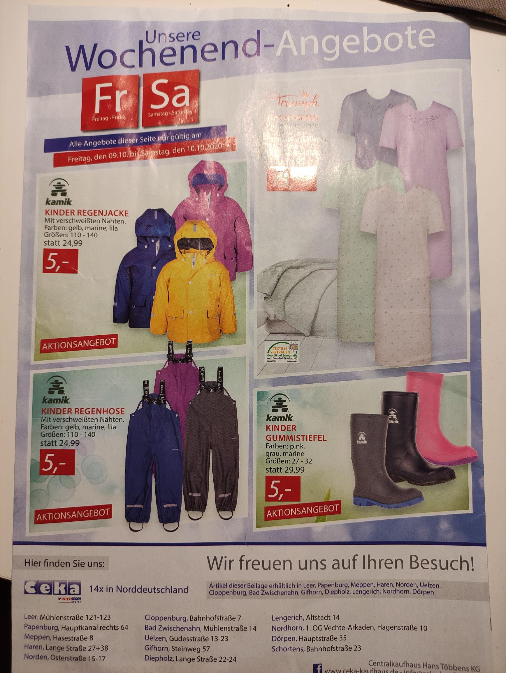 *Lokal Leer* Kamik Regenkleidung für Kinder, Regenjacke, Regenhose, Gummistiefel
