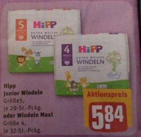 Rewe, Hipp windeln gr 4, 5 mit Coupon für 3,84€, Stückpreis gr5, 13Cent und Gr 4,12cent
