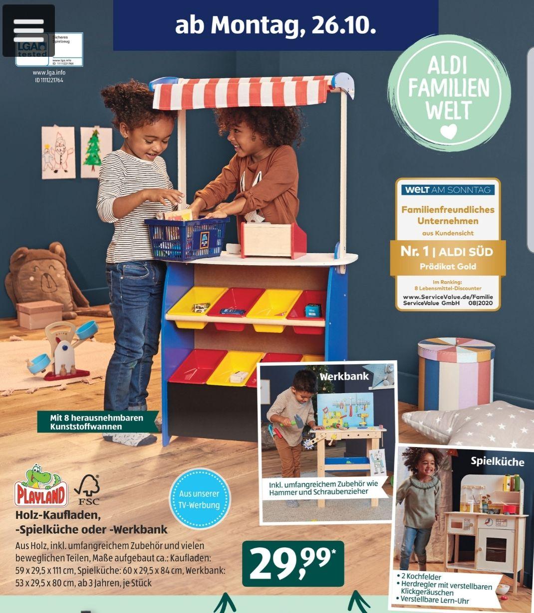 Playland Holz-Kaufladen, -Spielküche oder - Werkbank, zusätzliches Zubehör, ab 26.10.20 Aldi Süd