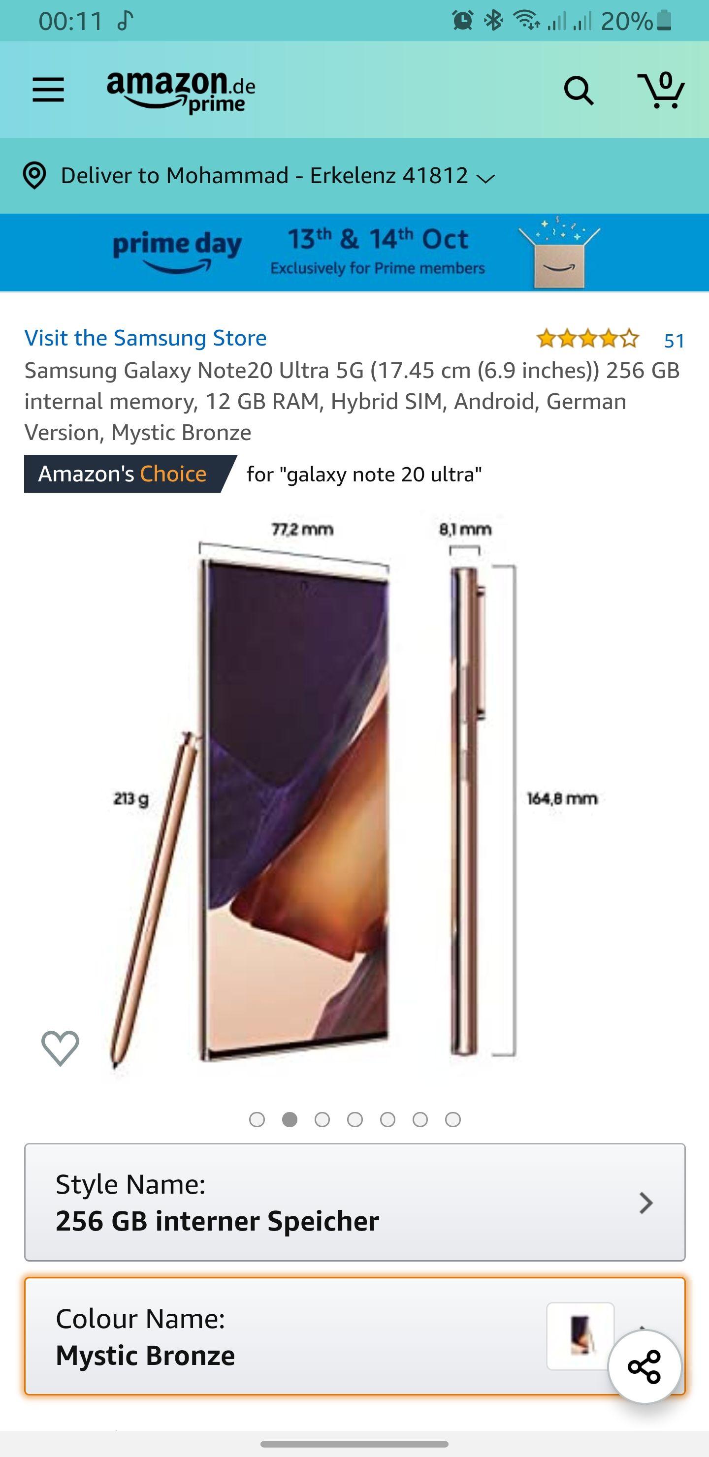 Samsung Galaxy Note 20 Ultra 5G 999€