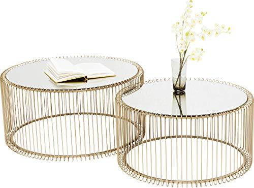 [Prime Day] Kare Design Couchtisch Wire Gold 2er Set, runder, moderner Glastisch, großer Beistelltisch, Kaffeetisch, Nachttisch