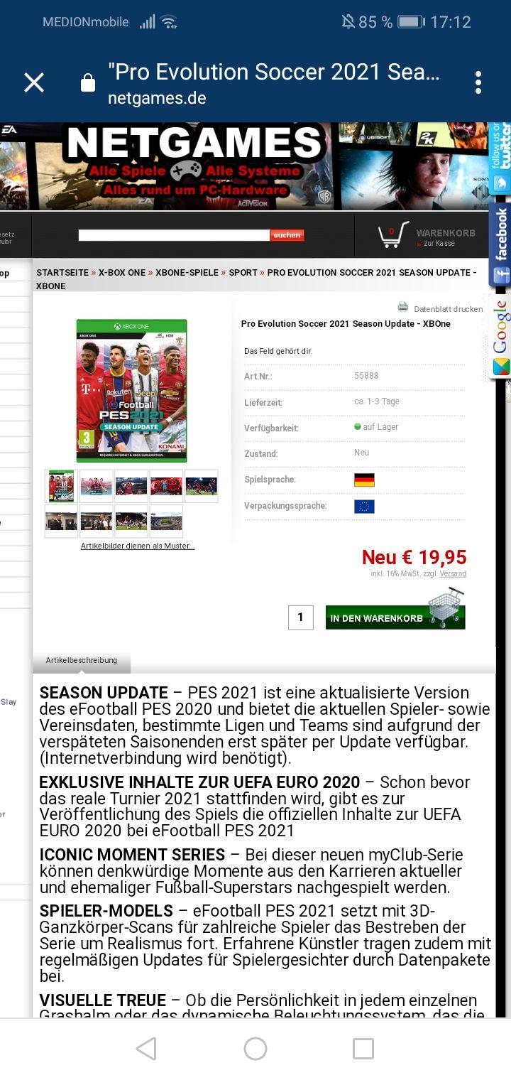 Pro Evolution Soccer 2021 für Xbox one und PS4