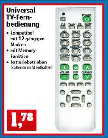 Universal Fernbedienung passend für 12 TV-Marken, für 1,74 Euro [Thomas Philipps]