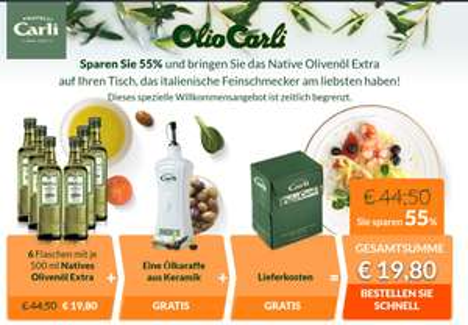 Fratelli Carli 6 Flaschen Natives Olivenöl Extra je 500ml + Ölkaraffe als Neukunde oder Gastbesteller